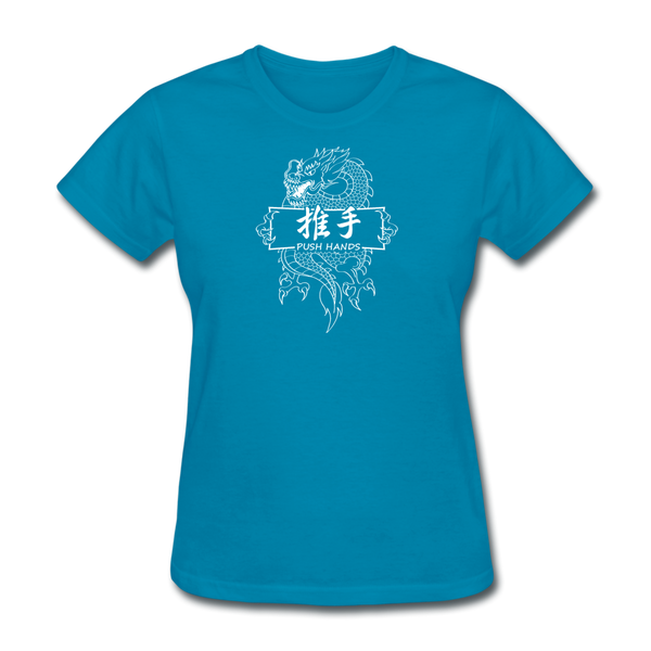 Dragon Push Hands T-Shirt - turquoise