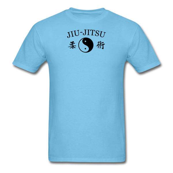 Jiu-Jitsu Yin and Yang Kanji T-Shirt - aquatic blue
