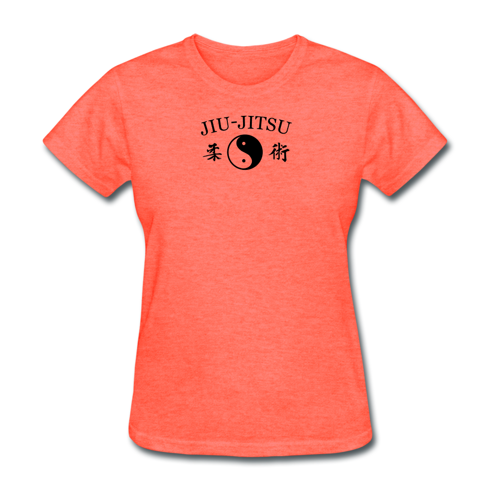 Jiu-Jitsu Yin and Yang Kanji T-Shirt - heather coral