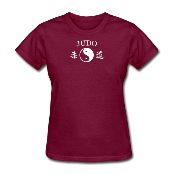 Judo Yin and Yang Kanji T-Shirt - burgundy