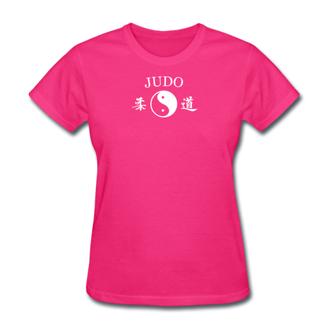 Judo Yin and Yang Kanji T-Shirt - fuchsia