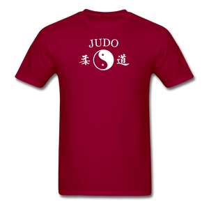 Judo Yin and Yang Kanji T-Shirt - dark red