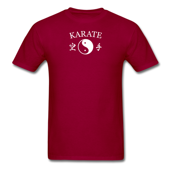 Karate Yin and Yang Kanji-Shirt - dark red