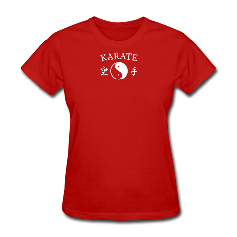 Karate Yin and Yang Kanji T-Shirt - red