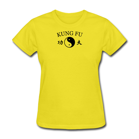 Kung Fu Yin and Yang Kanji T-Shirt - yellow