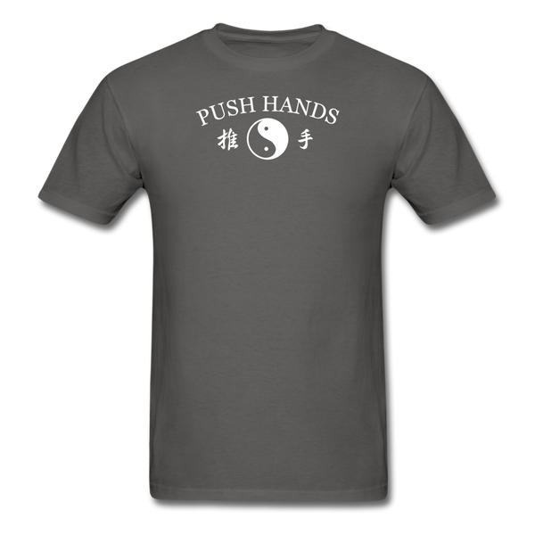 Push Hands Yin and Yang Kanji T-Shirt - charcoal