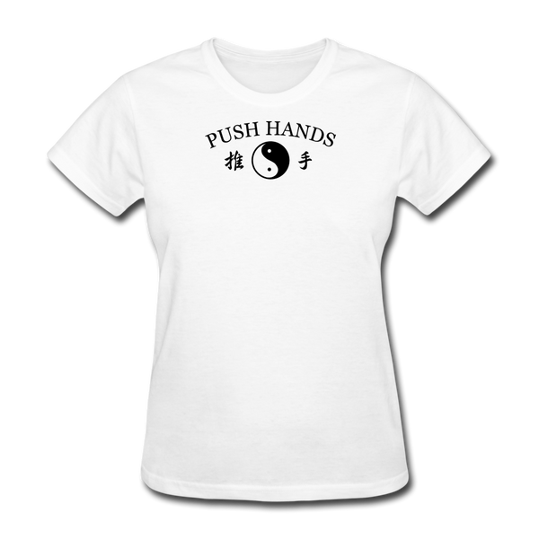 Push Hands Yin and Yang Kanji T-Shirt - white