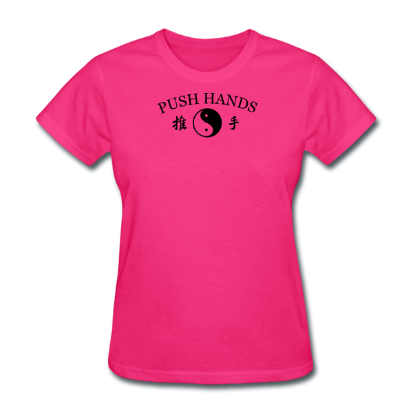 Push Hands Yin and Yang Kanji T-Shirt - fuchsia