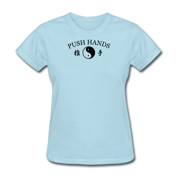 Push Hands Yin and Yang Kanji T-Shirt - powder blue