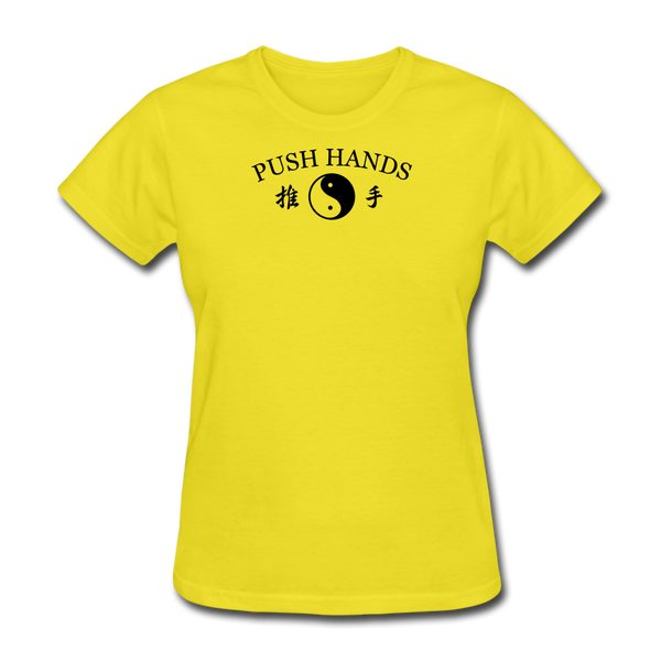 Push Hands Yin and Yang Kanji T-Shirt - yellow