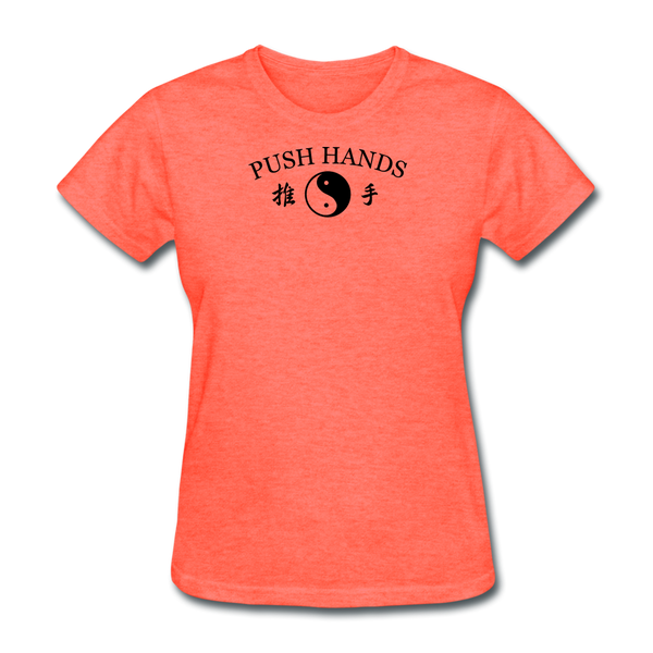 Push Hands Yin and Yang Kanji T-Shirt - heather coral