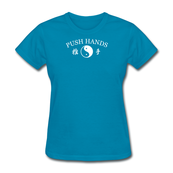 Push Hands Yin and Yang Kanji T-Shirt - turquoise