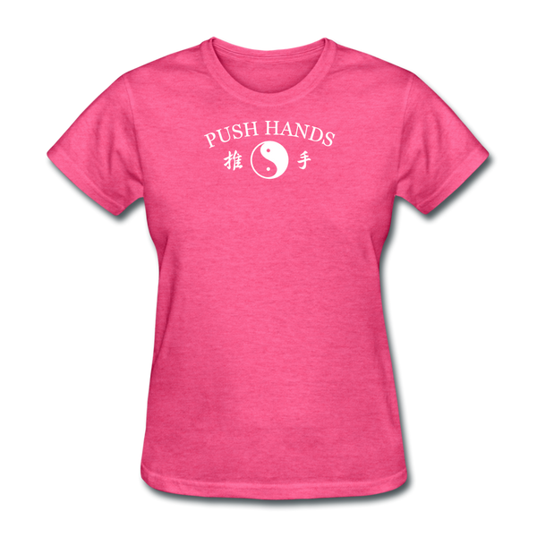 Push Hands Yin and Yang Kanji T-Shirt - heather pink