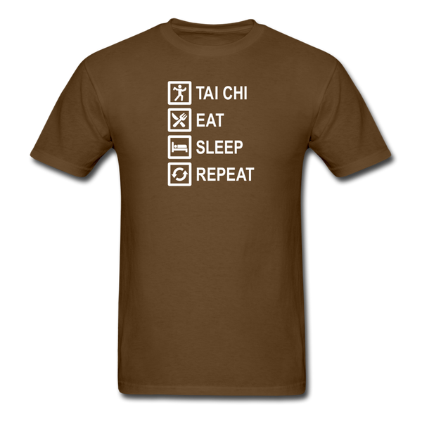 Tai Chi, Eat Sleep, Repeat T-Shirt - brown
