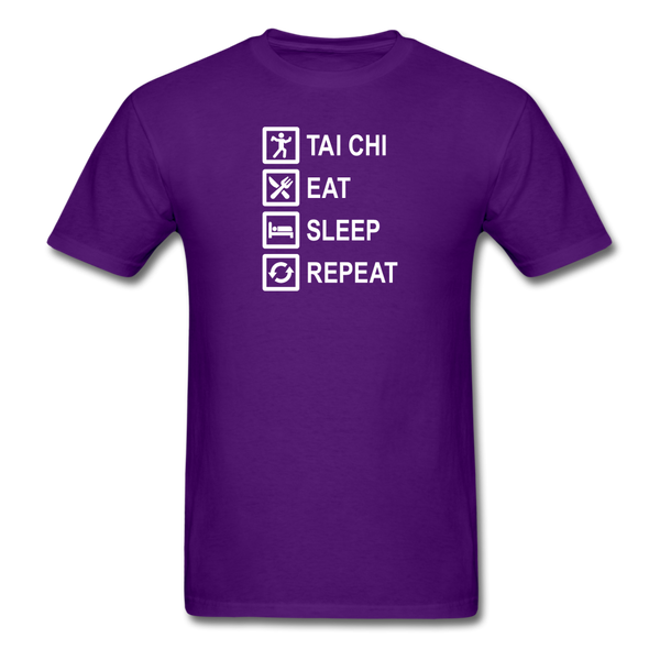 Tai Chi, Eat Sleep, Repeat T-Shirt - purple