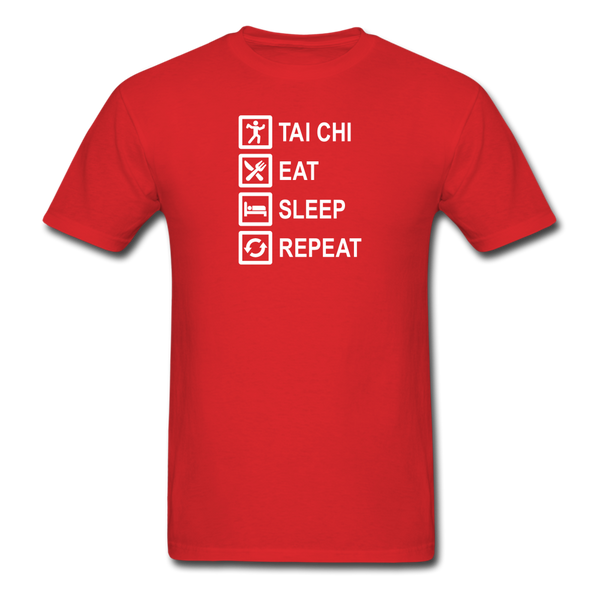 Tai Chi, Eat Sleep, Repeat T-Shirt - red