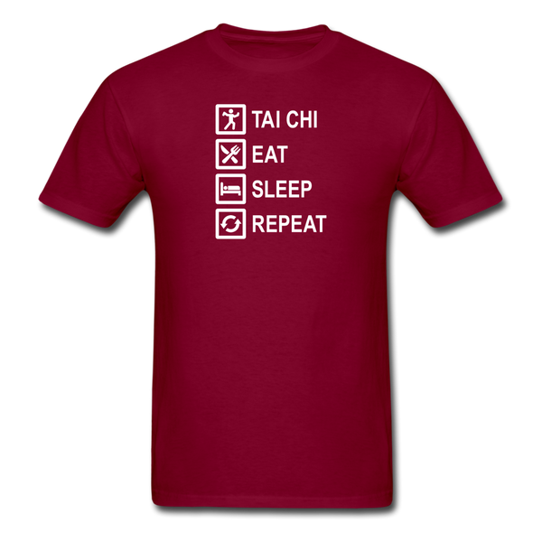Tai Chi, Eat Sleep, Repeat T-Shirt - burgundy