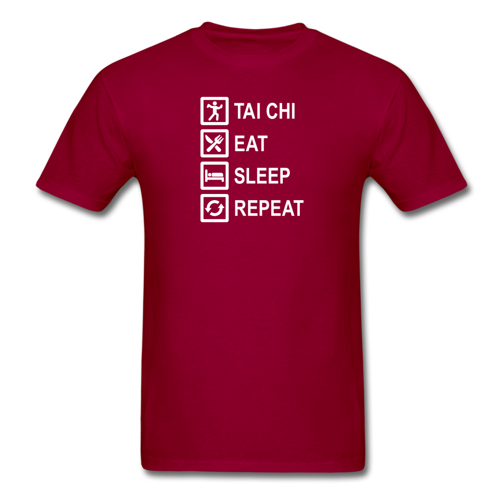 Tai Chi, Eat Sleep, Repeat T-Shirt - dark red