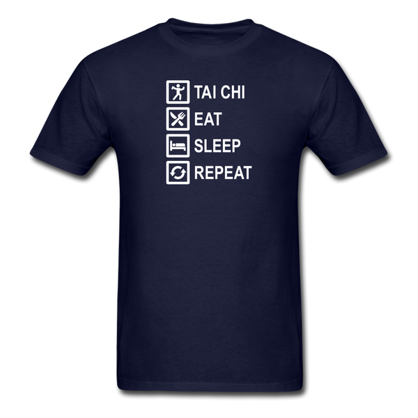 Tai Chi, Eat Sleep, Repeat T-Shirt - navy