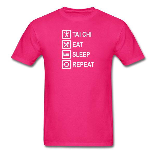 Tai Chi, Eat Sleep, Repeat T-Shirt - fuchsia