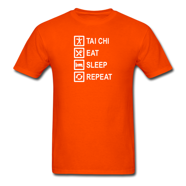 Tai Chi, Eat Sleep, Repeat T-Shirt - orange