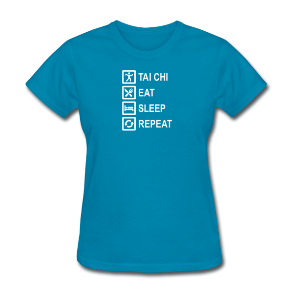Tai Chi, Eat Sleep, Repeat  T-Shirt - turquoise
