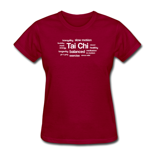 Tai Chi Health Benefits T-Shirt - dark red