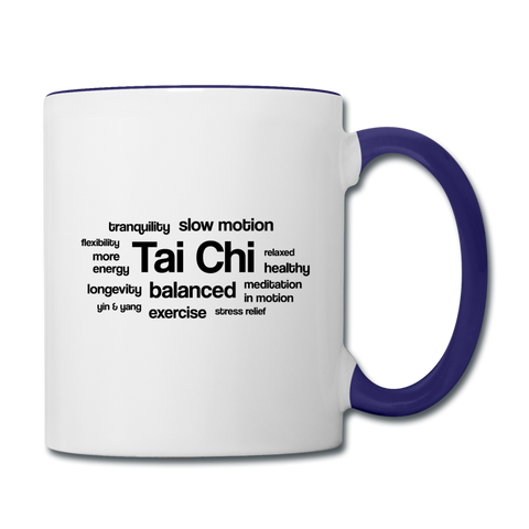 Tai Chi Health Benefits Mug - white/cobalt blue