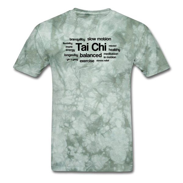 Tai Chi Health Benefits T-Shirt - military green tie dye