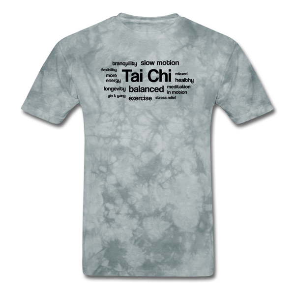 Tai Chi Health Benefits T-Shirt - grey tie dye