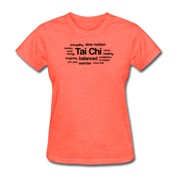 Tai Chi Health Benefits T-Shirt - heather coral
