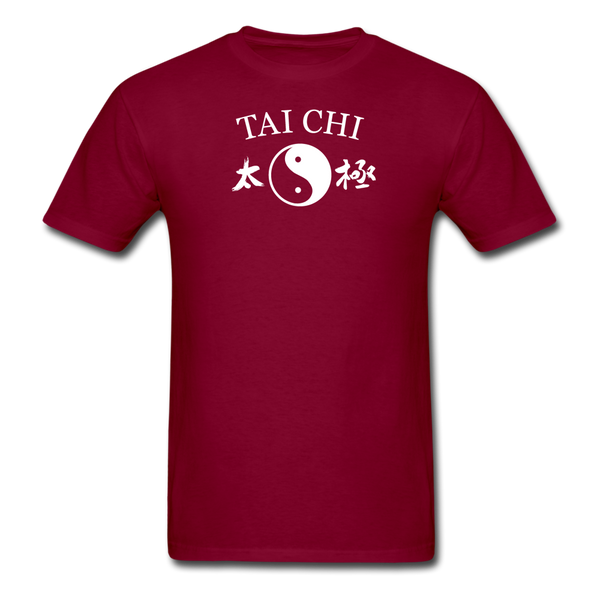 Tai Chi Yin and Yang with Kanji T-Shirt - burgundy