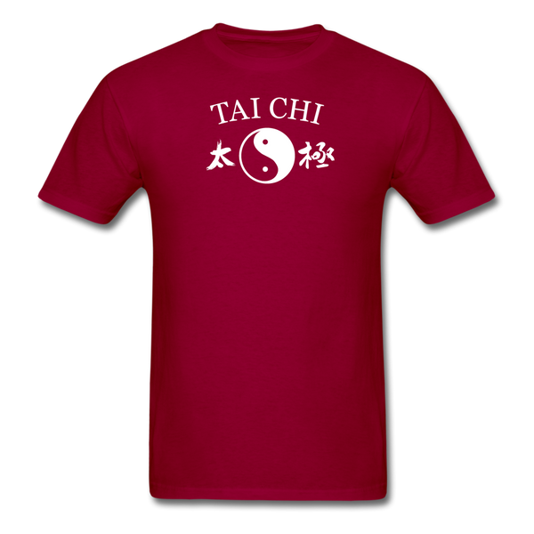 Tai Chi Yin and Yang with Kanji T-Shirt - dark red