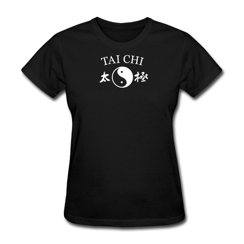 Tai Chi Yin and Yang with Kanji T-Shirt - black