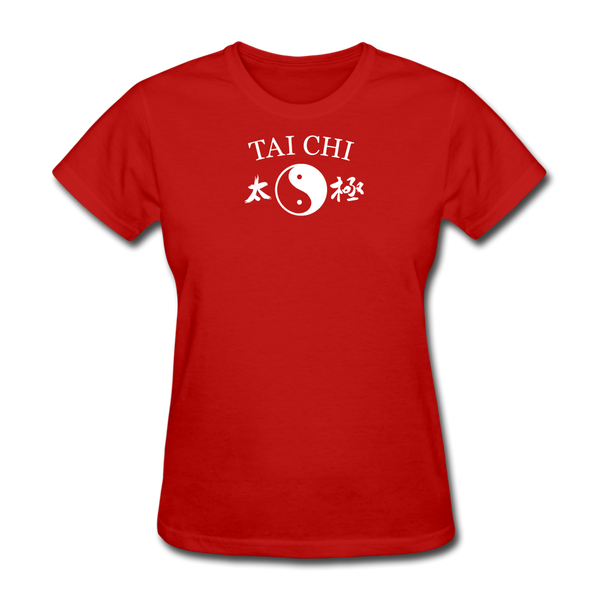Tai Chi Yin and Yang with Kanji T-Shirt - red
