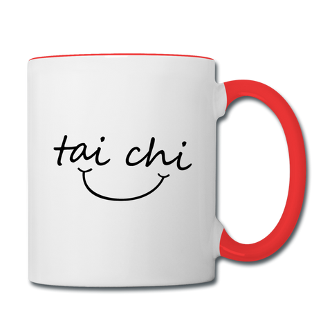 Tai Chi Smile Mug - white/red