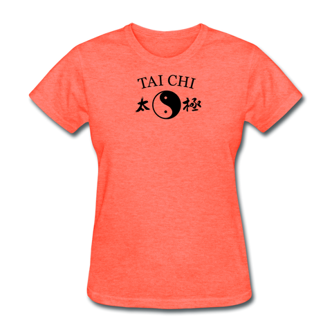 Tai Chi Yin and Yang with Kanji T-Shirt - heather coral