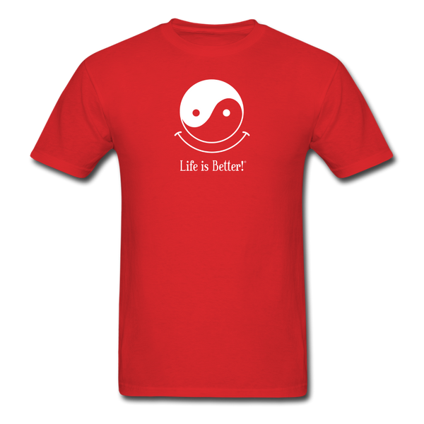 Yin and Yang Life is Better!® Men's T-Shirt - red