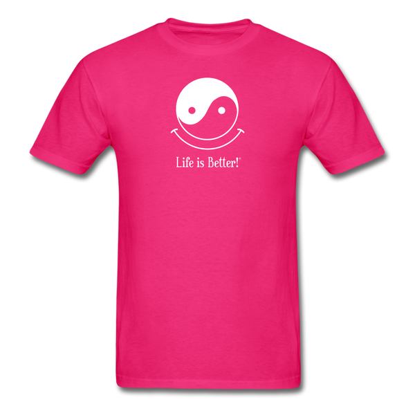 Yin and Yang Life is Better!® Men's T-Shirt - fuchsia