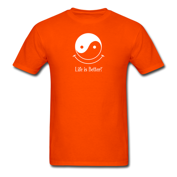 Yin and Yang Life is Better!® Men's T-Shirt - orange