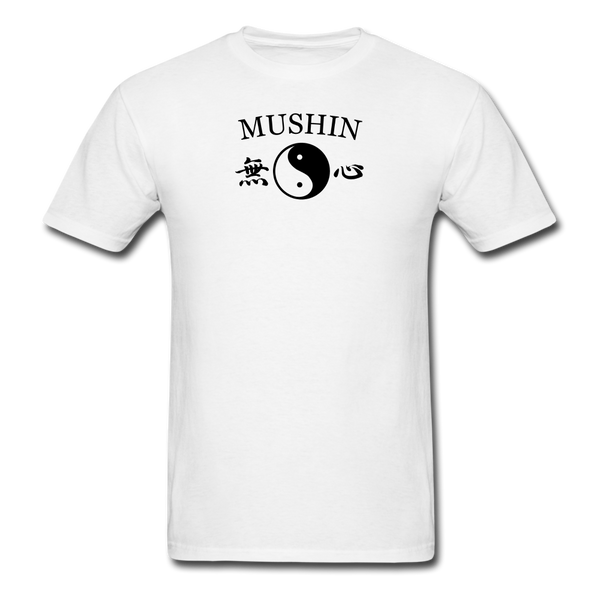 Mushin Kanji with Yin and Yang Men's T-Shirt - white