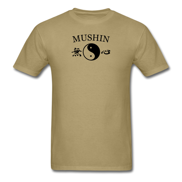 Mushin Kanji with Yin and Yang Men's T-Shirt - khaki