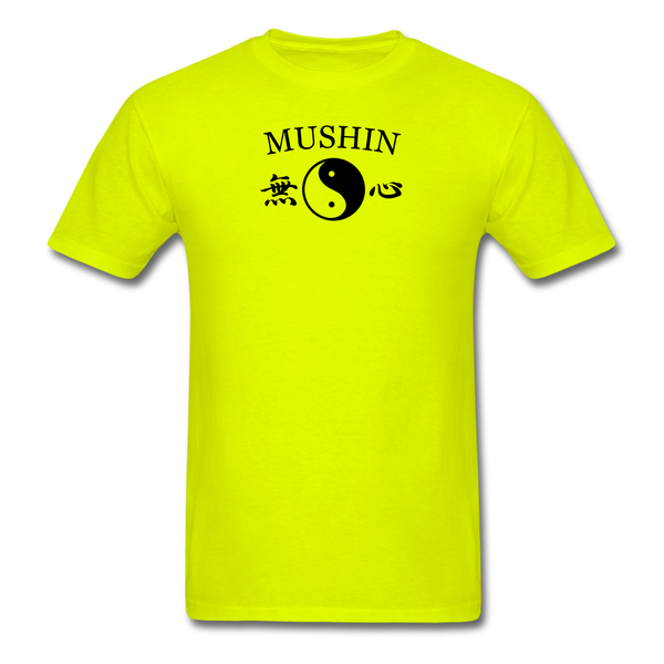 Mushin Kanji with Yin and Yang Men's T-Shirt - safety green