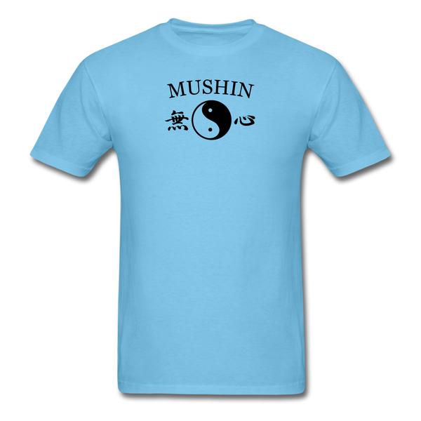 Mushin Kanji with Yin and Yang Men's T-Shirt - aquatic blue