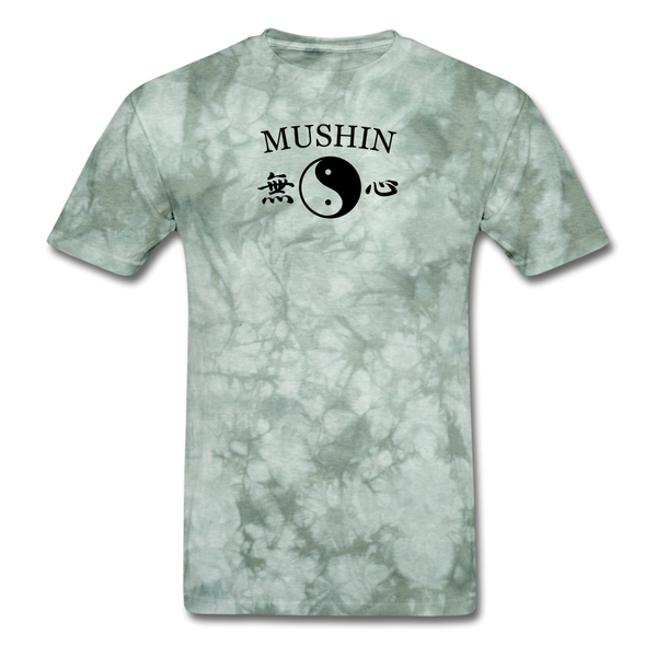 Mushin Kanji with Yin and Yang Men's T-Shirt - military green tie dye