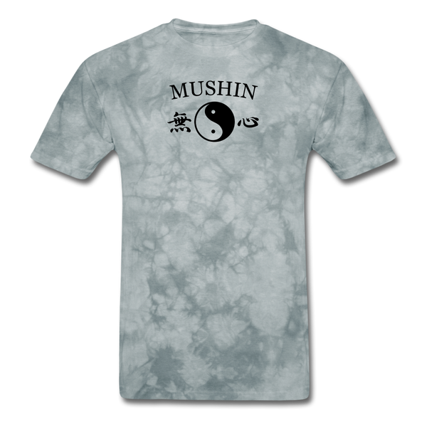 Mushin Kanji with Yin and Yang Men's T-Shirt - grey tie dye