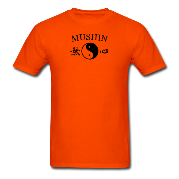 Mushin Kanji with Yin and Yang Men's T-Shirt - orange
