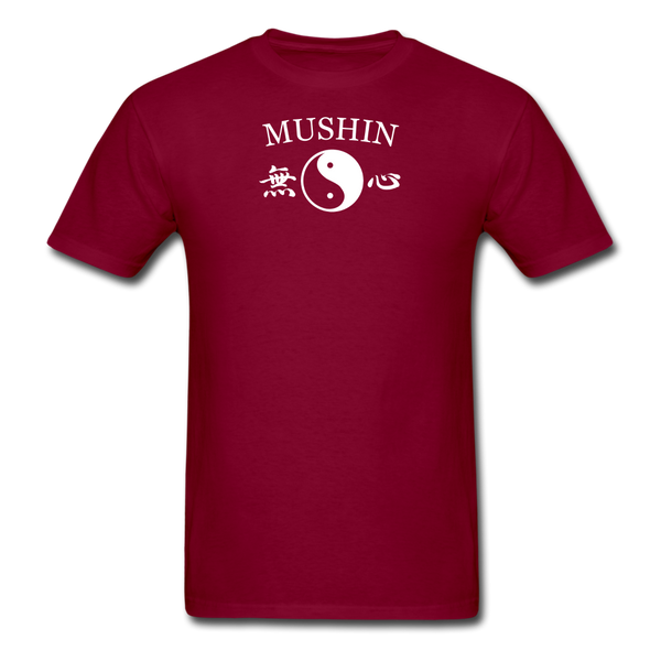 Mushin Kanji with Yin and Yang Men's T-Shirt - burgundy