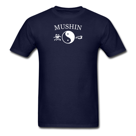 Mushin Kanji with Yin and Yang Men's T-Shirt - navy