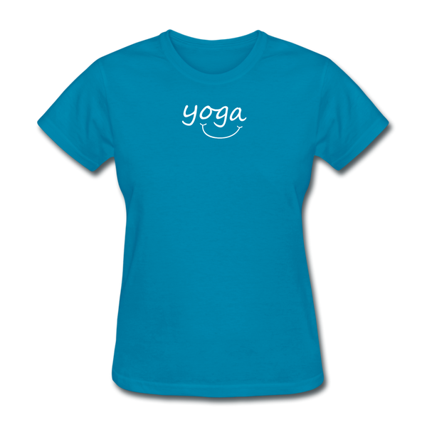 Yoga with a Smile Women's T-Shirt - turquoise